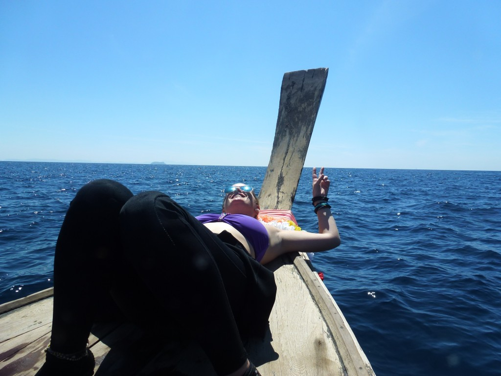 Chilling on a longtail boat phi phi