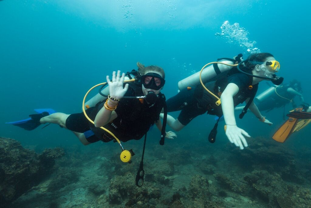 Divers waving padi advanced open water