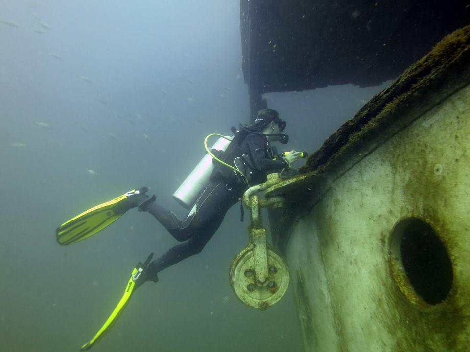 Diver wreck diving Ko phi phi Thailand