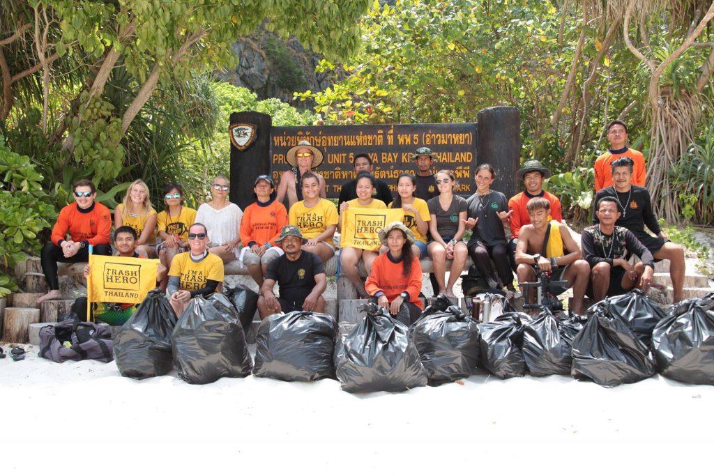 trash hero clean up maya bay phi phi island
