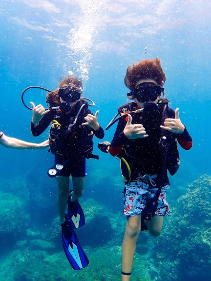 kids diving, padi open water